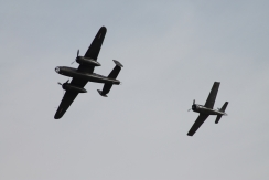 "North American B-25J Mitchell ""Sarinah"" & North American T-28A Fennec"