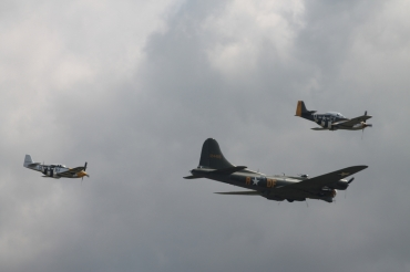 "Boeing B-17G Flying Fortress ""Sally B"" & North American P-51D Mustangs ""Ferocious Frankie"" & ""Miss Velma"""
