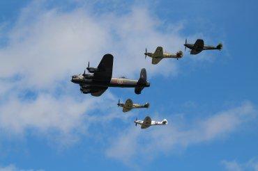 Avro Lancaster B.I, Hawker Hurricane Mk. IIC, Supermarine Spitfires Mk. IIA, LF. XVIE & PR. XIX